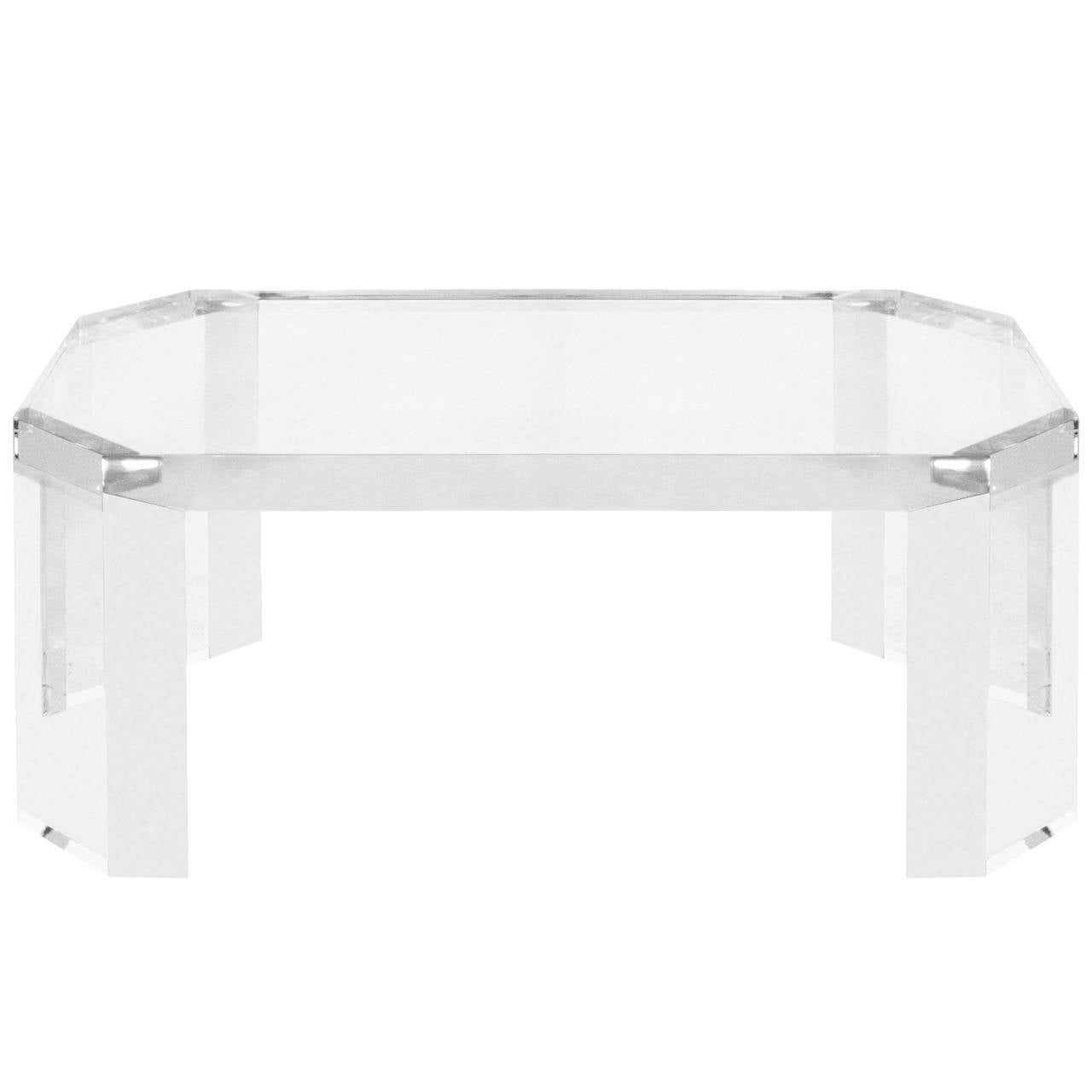 Elegant Coffee Table In Thick Lucite By Charles Hollis Jones For Sale At 1stdibs