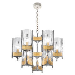 Chandelier in Brass and Steel by Sciolari