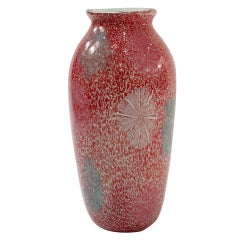 Handblown Red and White Speckled Glass Vase by Arte Vetraria Muranese