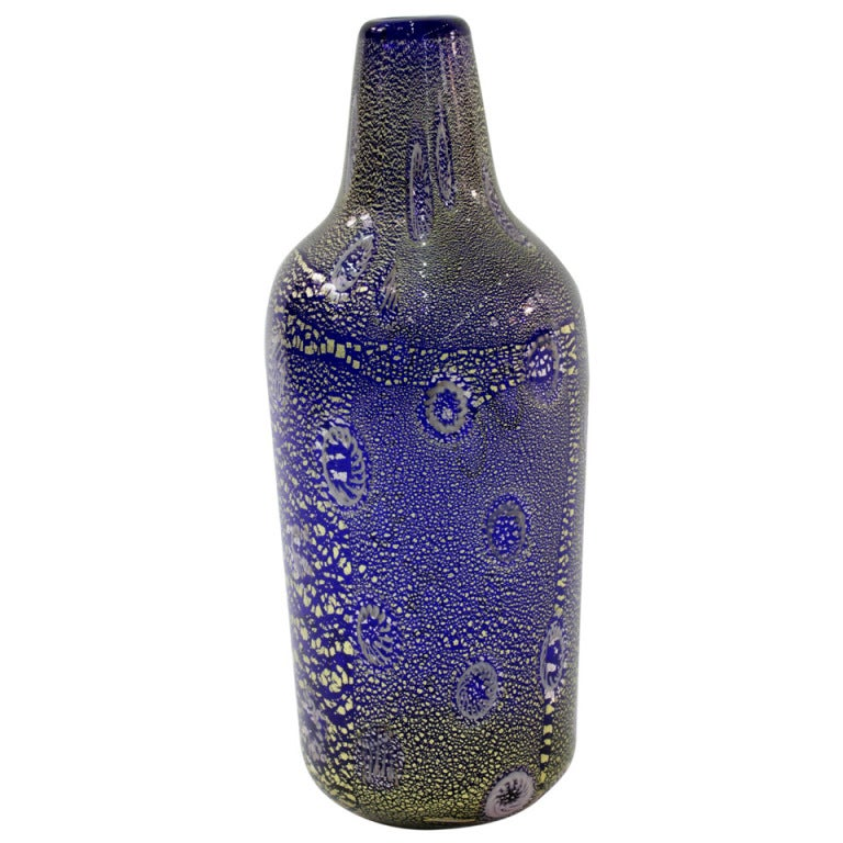 Handblown Blue Glass Vase with Gold Foil by Giulio Radi