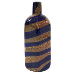Hand-blown Blue Glass Vase by Giulio Radi for A.V.E.M.