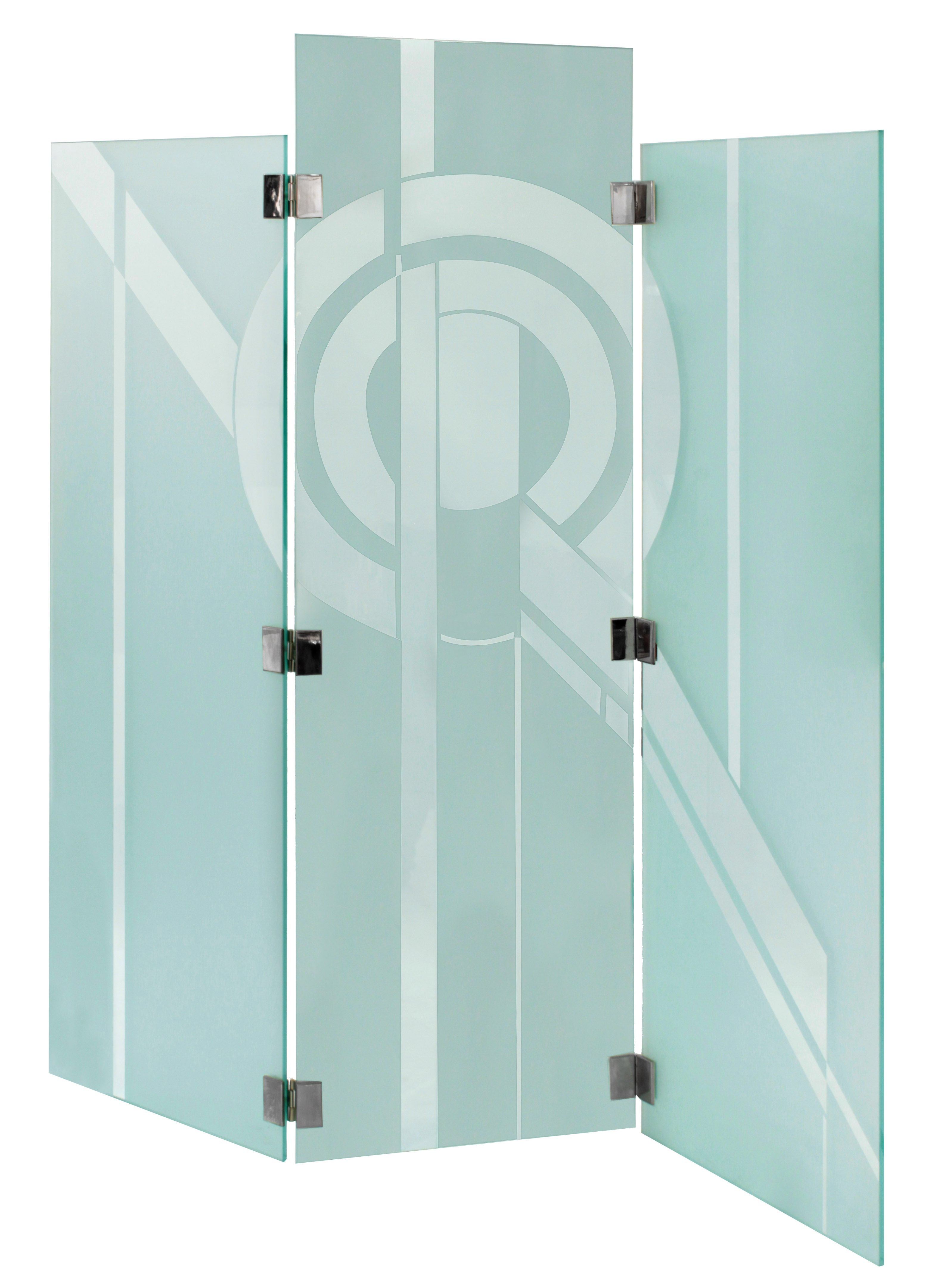 Impressive Three-Panel Etched Glass Screen by Shultz