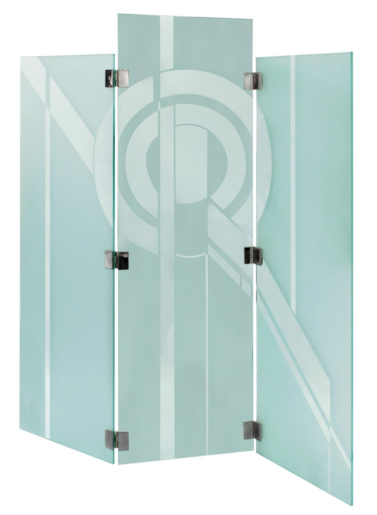 Impressive Three-Panel Etched Glass Screen by Shultz For Sale