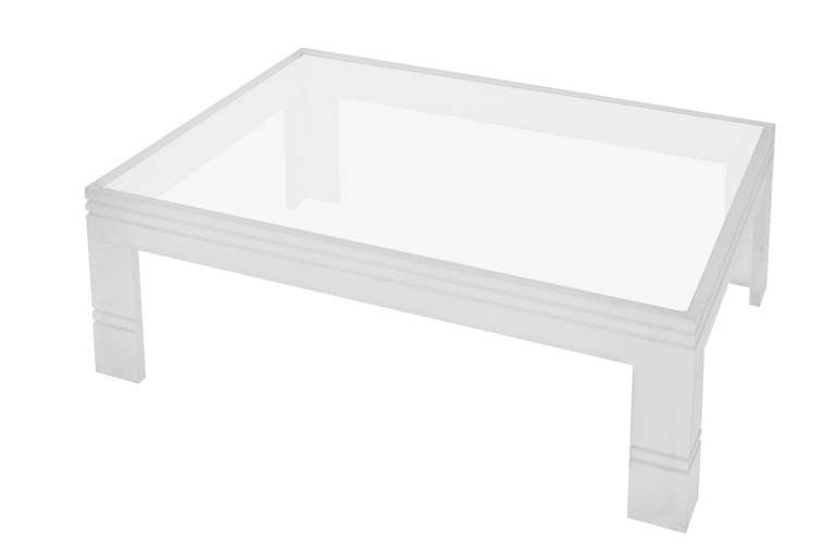 Large Channeled Frosted Lucite Coffee Table With Inset Glass Top At 1stdibs