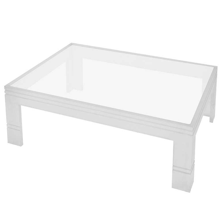 Large channeled frosted lucite coffee table with inset for Large lucite coffee table