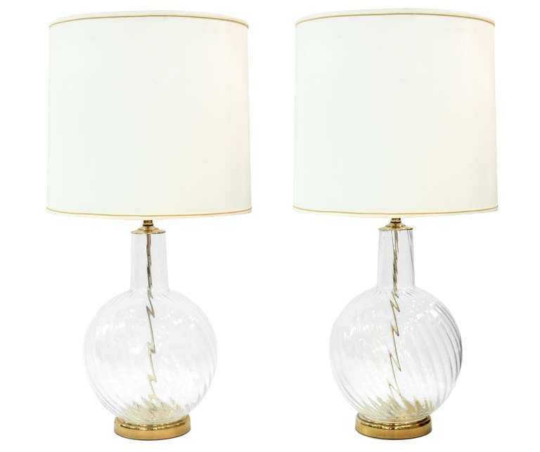 Nice Pair Of Chic Hand Blown Glass Table Lamps 1