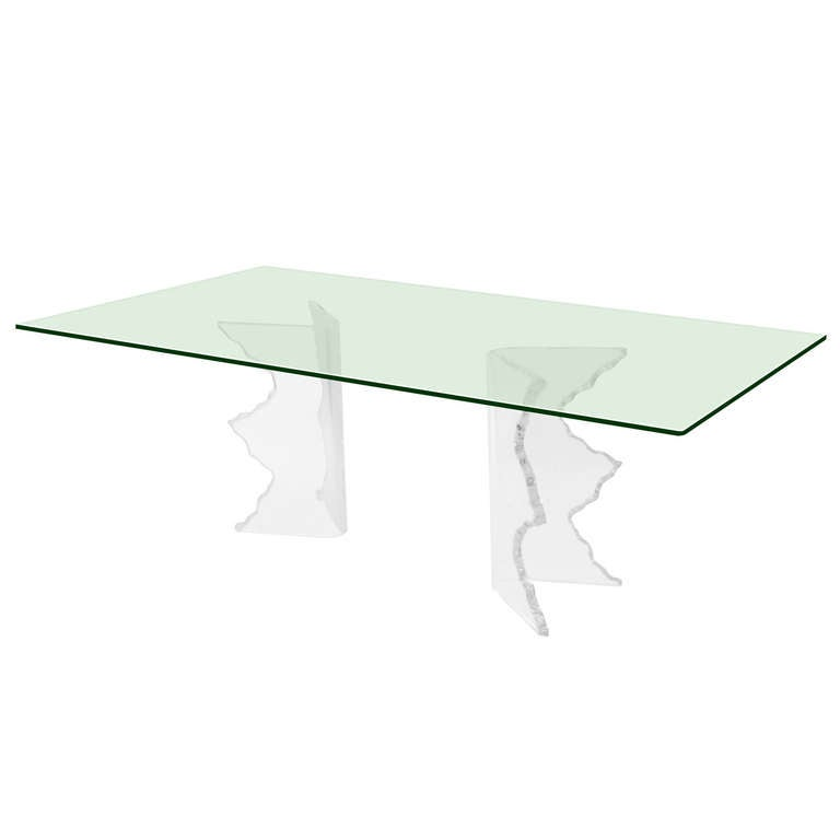 Sculptural Dining Table with Lucite Bases
