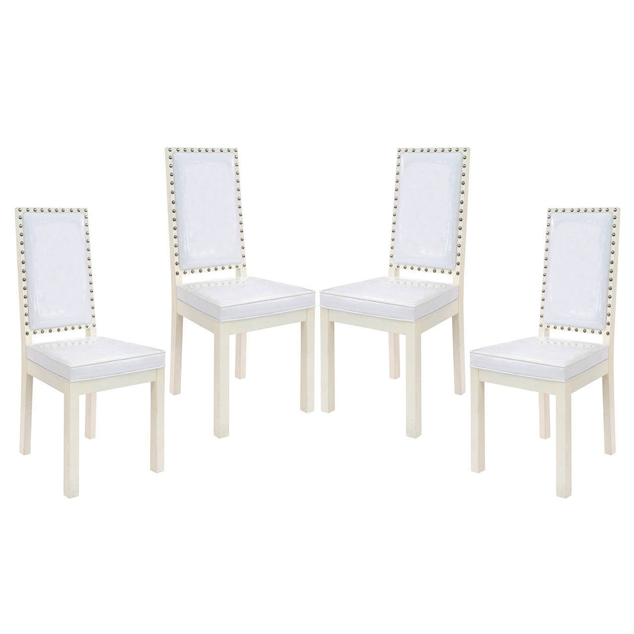 Four Dining or Game Chairs with Studs in the Manner of Tommi Parzinger For Sale
