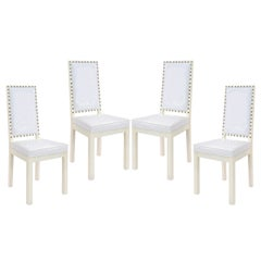 Four Dining or Game Chairs with Studs in the Manner of Tommi Parzinger