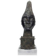 African Bronze Head on Thick Lucite Base