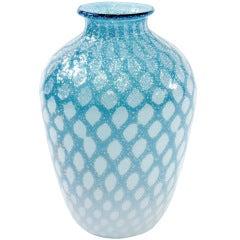 Handblown Pale Blue Glass Vase with Silver Foil Design by Giulio Radi