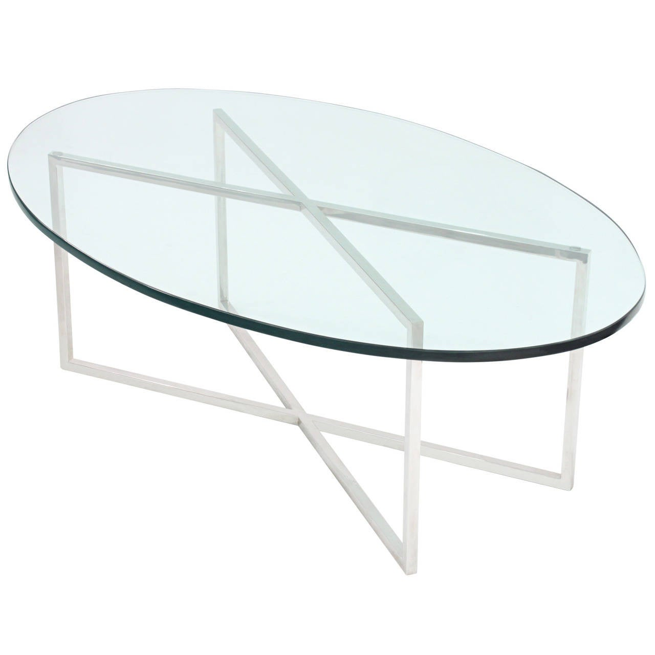Elegant Coffee Table With Polished Steel Base By Tommi Parzinger For Sale At 1stdibs