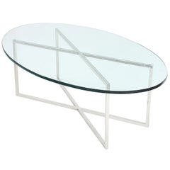 Elegant Coffee Table with Polished Steel Base by Tommi Parzinger