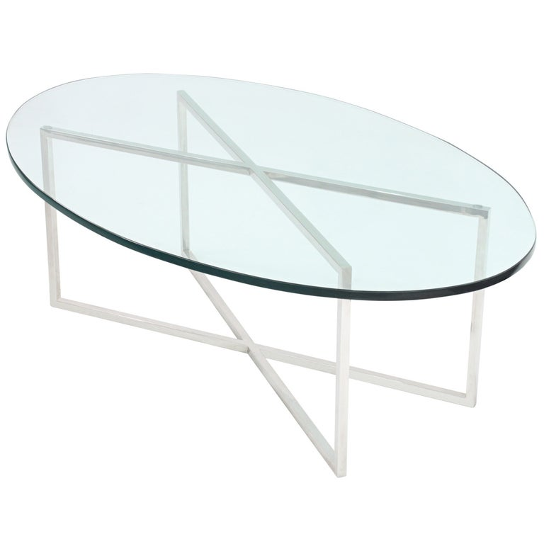 Elegant Coffee Table with Polished Steel Base by Tommi Parzinger For Sale