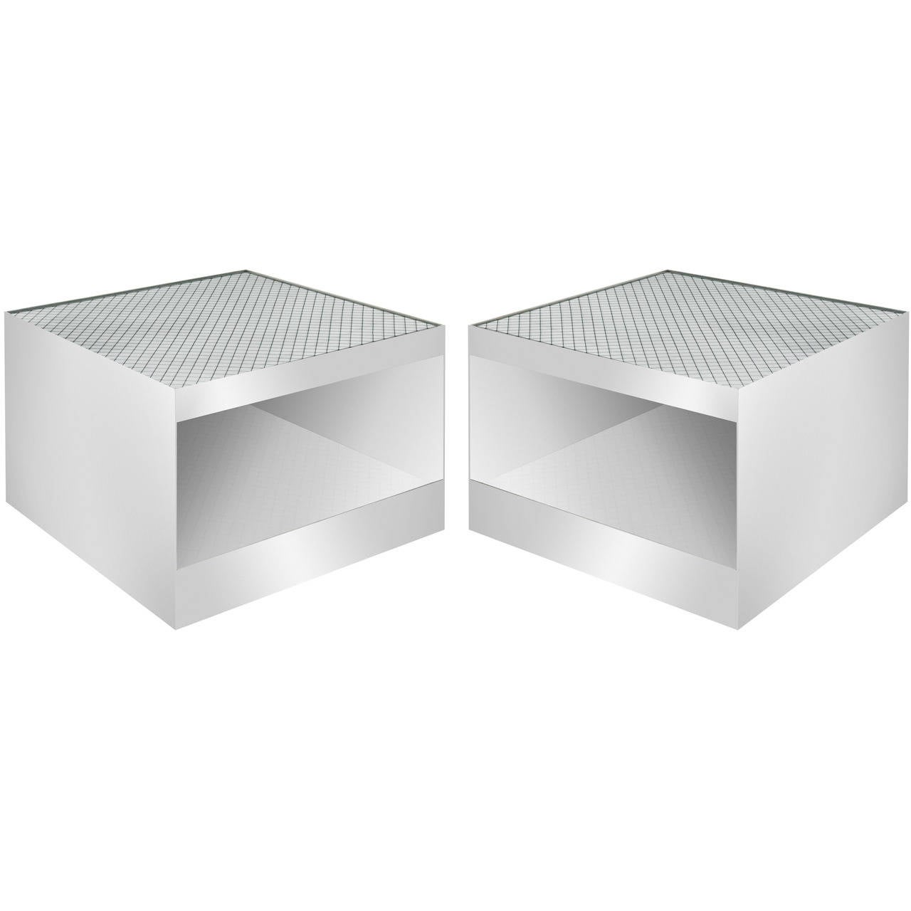 Pair Of Stainless Steel Coffee Tables By Joe D 39 Urso At 1stdibs