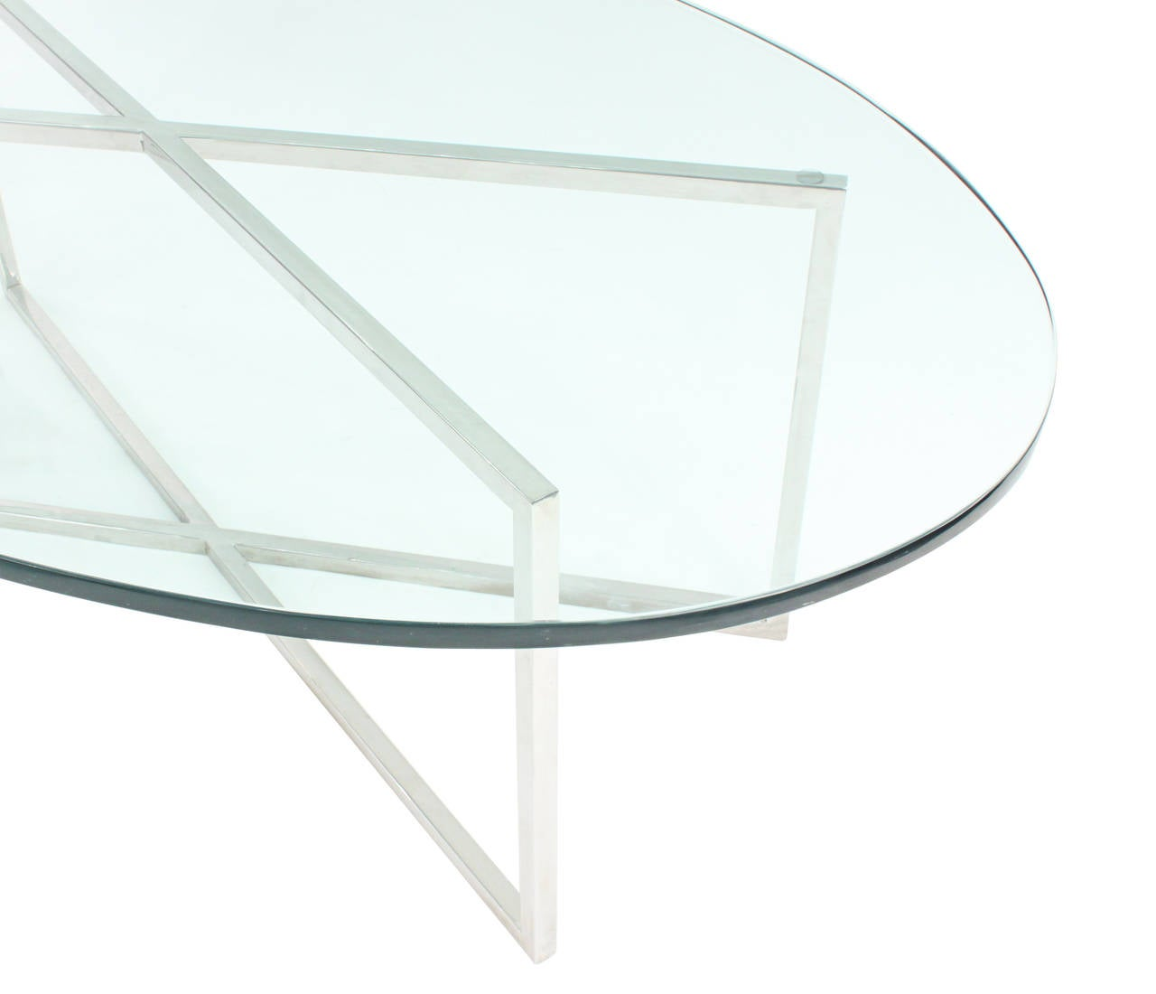 Hand-Crafted Elegant Coffee Table with Polished Steel Base by Tommi Parzinger For Sale
