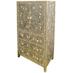 Indian Cabinet with Inlaid Grey Bone, Floral Design