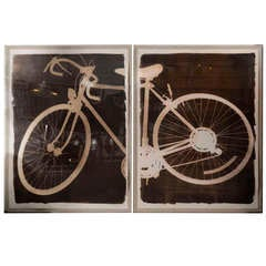 USA Bicycle Photo / Drawing in 2 Parts in Plexiglass Boxes