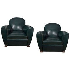Green Leather French Club Chairs