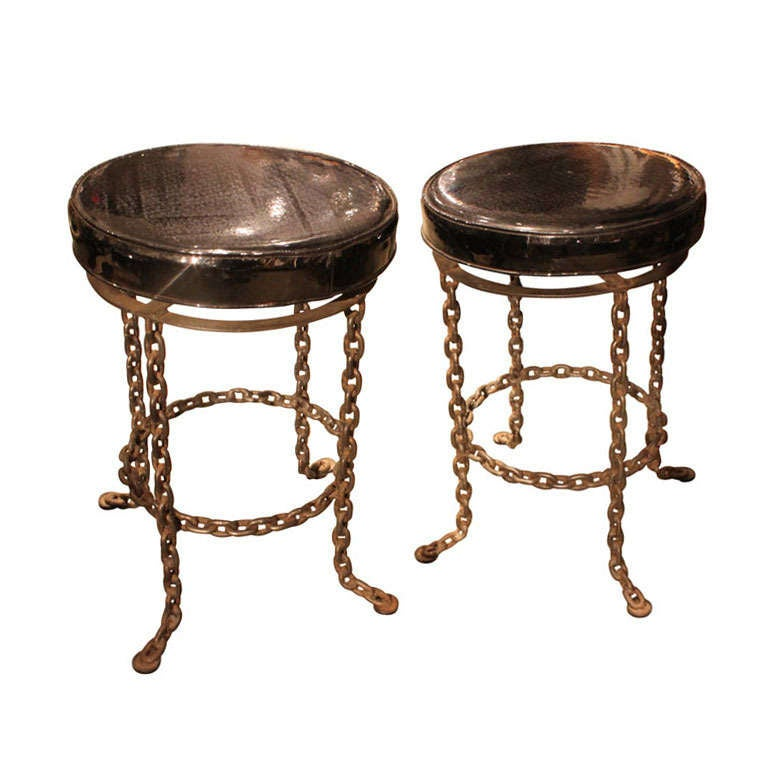 Fantastic Chain Link Swivel Stools 1960 At 1stdibs