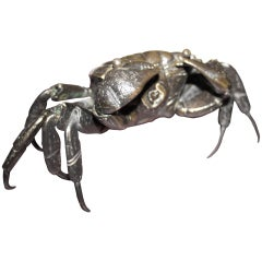 Rare Meiji bronze articulated crab 19th century