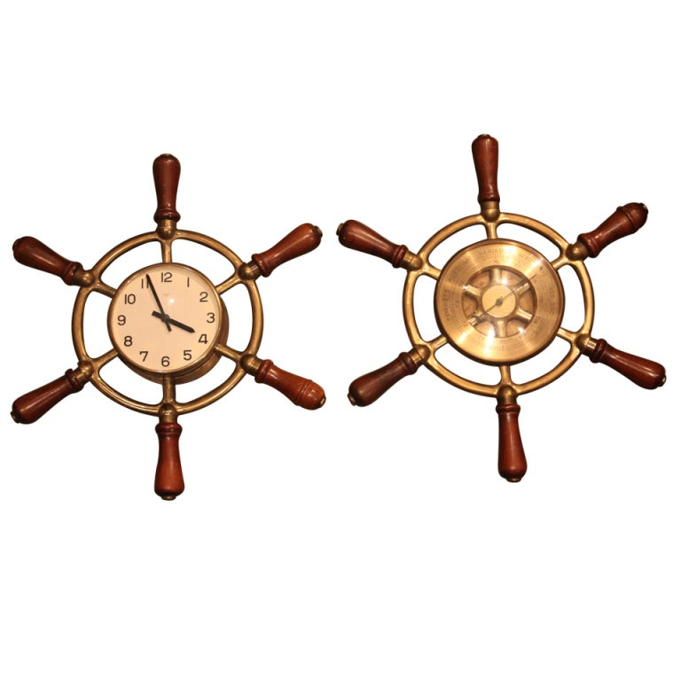 Hermes Ship's Wheel Clock And Barometer