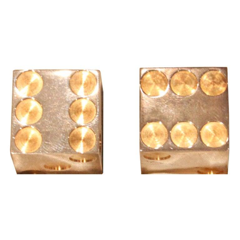 Sterling Silver and Gold Bulgari Dice in Original Box 1
