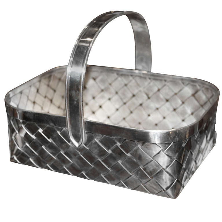 Giant Cartier Sterling Basket For Sale