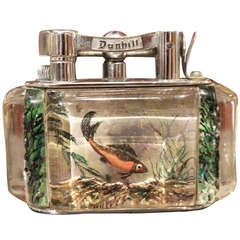 A Fine Alfred  Dunhill Reversed Carved and Painted Aquarium Lighter 1950