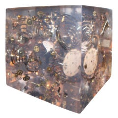 Huge Lucite Cube with Exploded Watch Parts