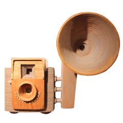 Giant Wooden Camera Sculpture by Peter Buchman