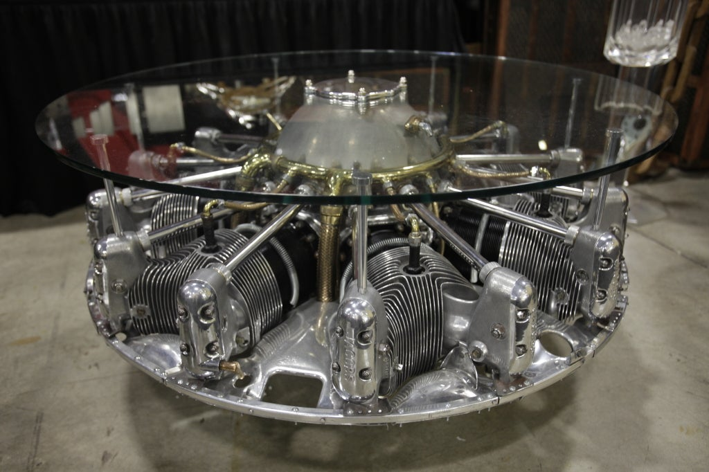 Incredible 8 Cylinder Jacobs Aircraft Engine Coffee Table