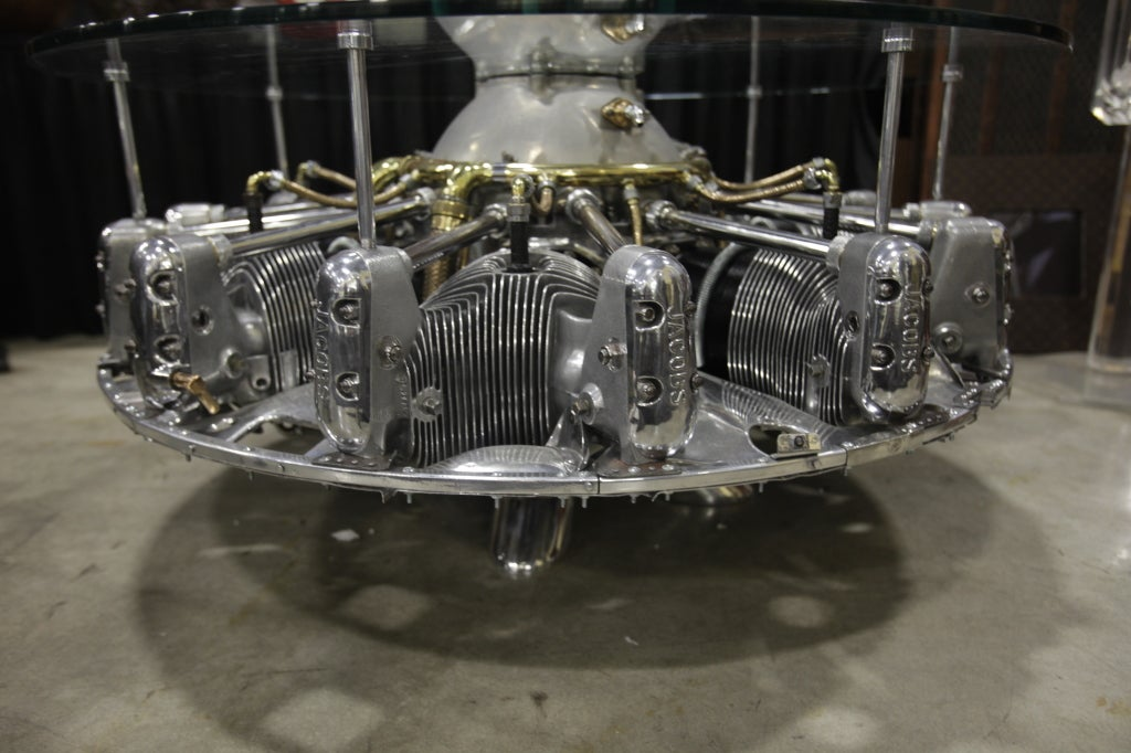 Polished Incredible Seven Cylinder Jacobs Aircraft Engine Coffee Table For Sale