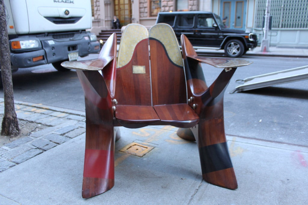 This chair was presented to the Littlewick Club in 1920. It's made of two Rolls Royce propellers from the Rolls Royce Eagle 275 engine that went on the Havilland DH 4 aircraft. It is an amazing, one off, custom piece, that is the ultimate object for