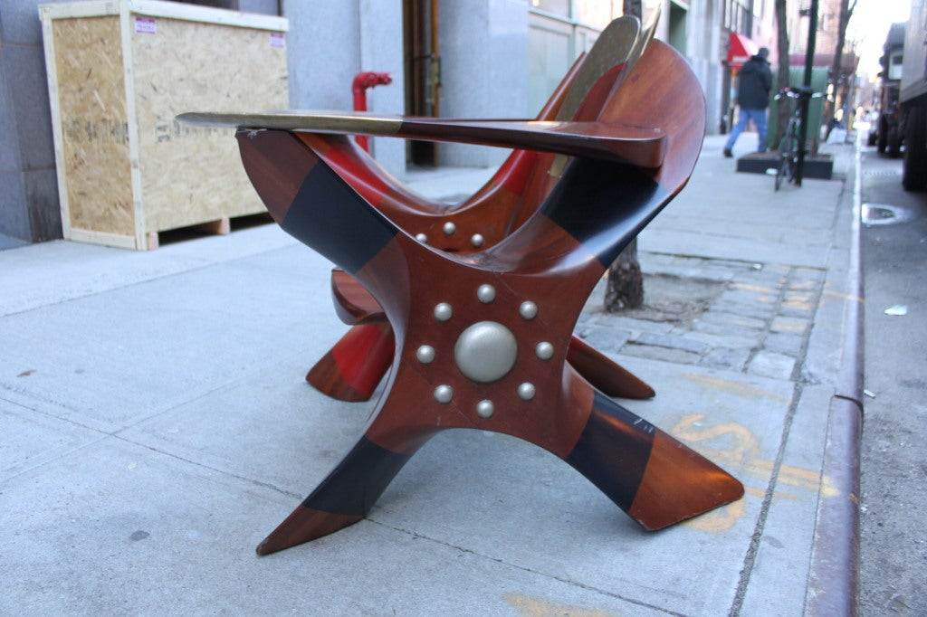 Wood One of a Kind Chair made of Rolls Royce Propellers