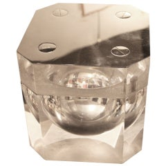 Giant Italian lucite and nickel silver ice bucket with screw head top