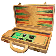 A Fine Gucci Exotic Wood and Leather Backgammon Set 1970