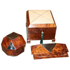 Great Collection of Three French Art Deco Burlwood Boxes