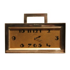 Awesome Demi-Lune Silver Plate Clock and Stash Box