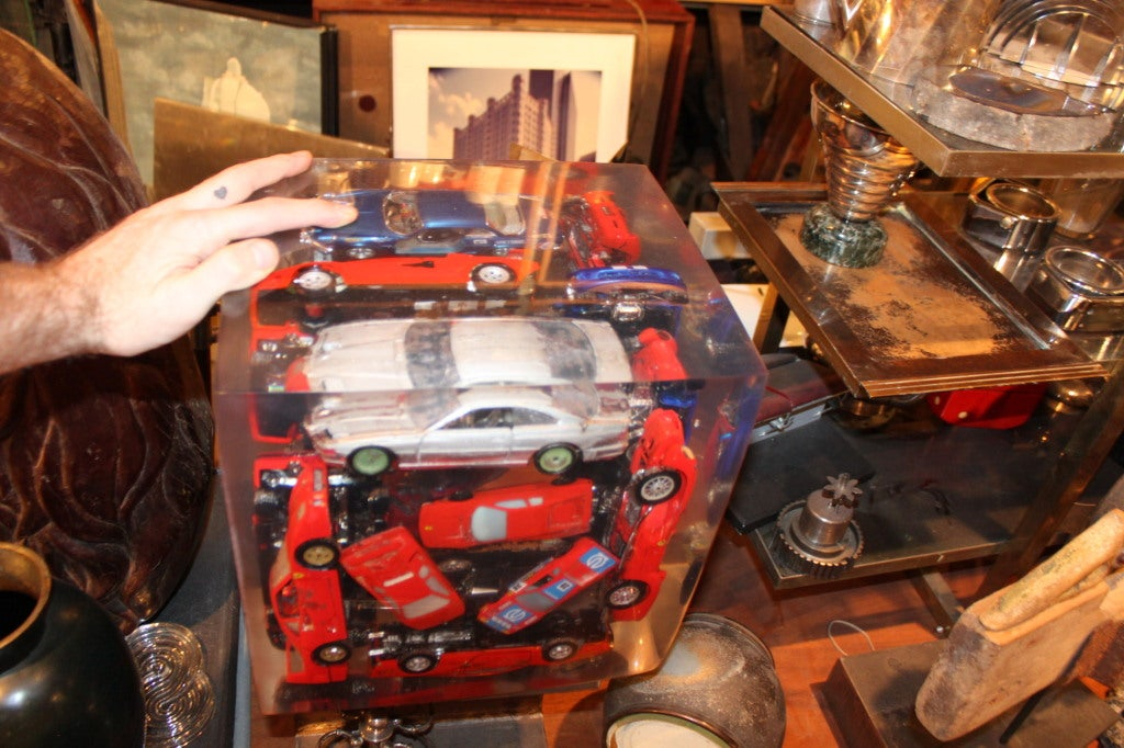 Giant Lucite Cube with Ferraris 3