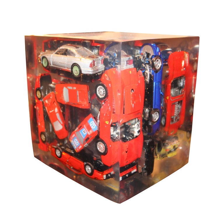 Giant Lucite Cube with Ferraris For Sale