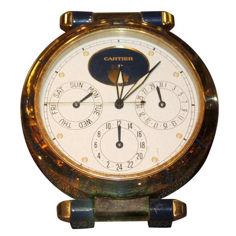 Cartier Moon phase Clock at 1stdibs