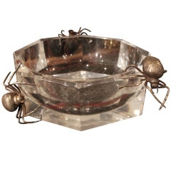 Rare French 70's Lucite and silver spider bowl