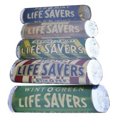 Fantastic Set of 5 Giant Figural Lifesaver Candies Signs