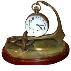 Rare French Ball Clock on Nautical Theme Holder