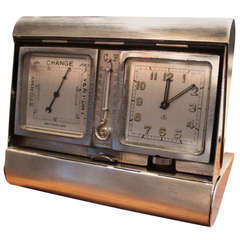 Asprey Sterling and Gold Weather Station Clock