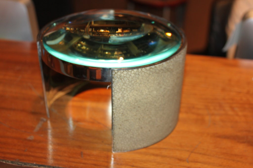Mid-20th Century Rare and unusual French silver and Shagreen Table magnifier For Sale