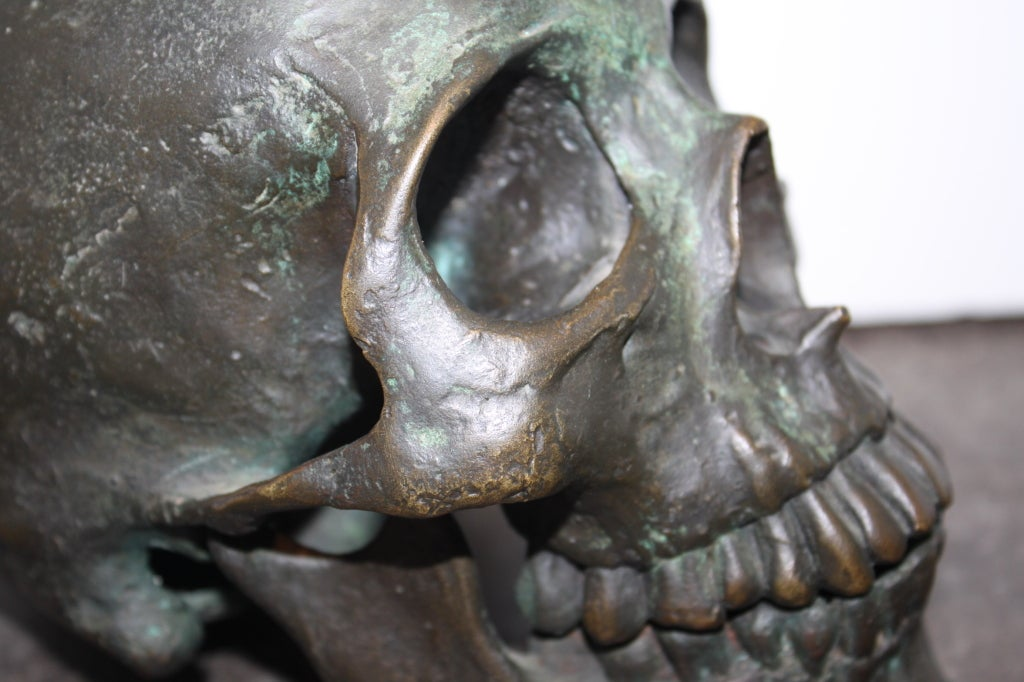 Early  20th Century American School Life Size Bronze Skull 2