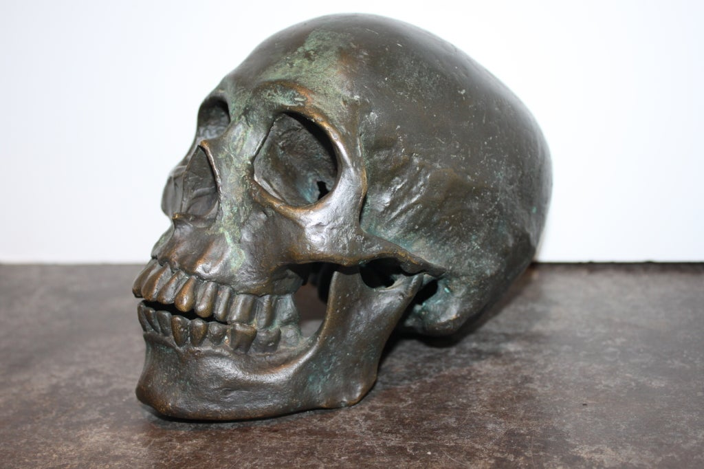 Early  20th Century American School Life Size Bronze Skull 3