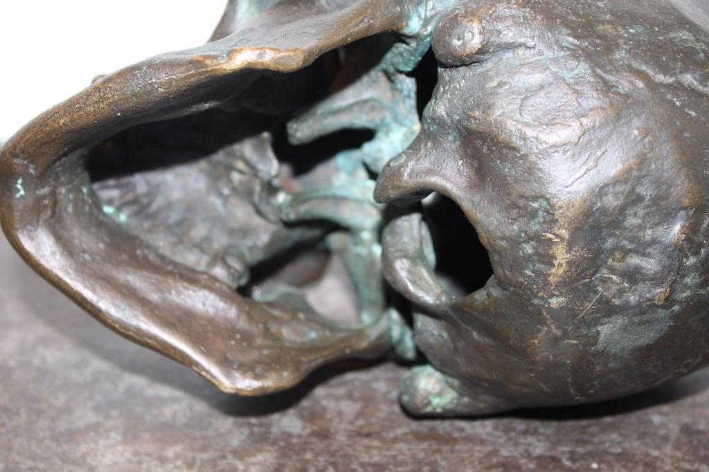 Early  20th Century American School Life Size Bronze Skull 5